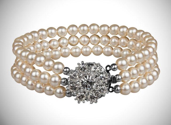 Rhinestone Flower Three String Pearl Bracelet