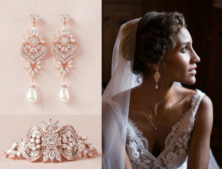 Rose Gold Bridal Bracelet + Crystal Bridal Earrings Set