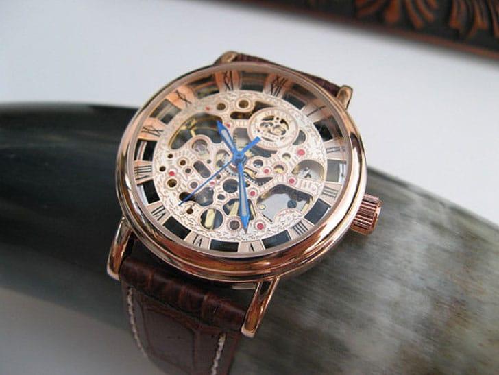 Rose Gold Mechanical Wrist Watch - steampunk watches