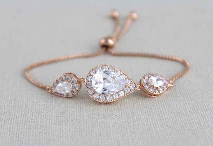 Rose Gold Swarovski Bridal Bracelet