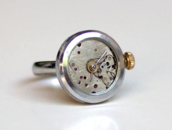 Silver Steampunk Ring Watch
