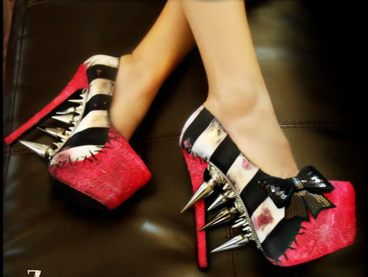 """Striped """"Zombie Pin Up"""" Pumps"""