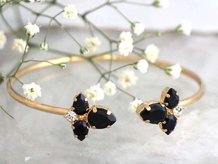 Swarovski Black Crystal Wedding Bracelet - wedding bracelets