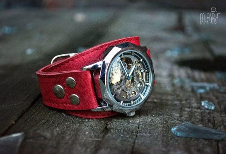 The Aviator Women's Red Mechanical Wrist Watch - steampunk watches