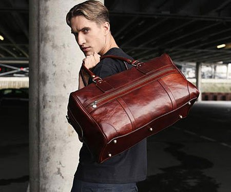 Time Resistance Leather Overnight Bag