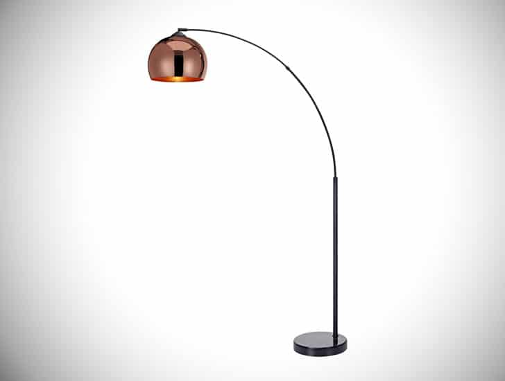 Versanora - Arquer Arc Floor Lamp with Rose Gold Finished Shade and Black Marble Base