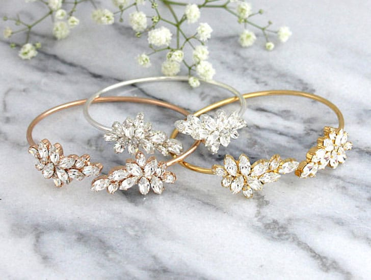White Crystal Swarovski Bride or Bridesmaids Bracelets - wedding bracelets