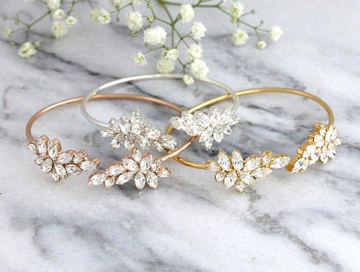 White Crystal Swarovski Bride or Bridesmaids Bracelets - wedding bracelets