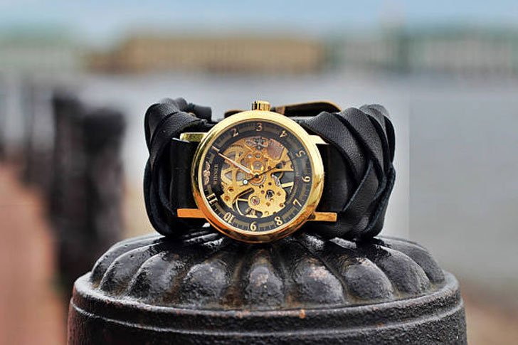 Women's Black Leather Steampunk Watch