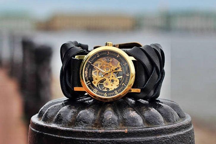 Women's Black Leather Steampunk Watch