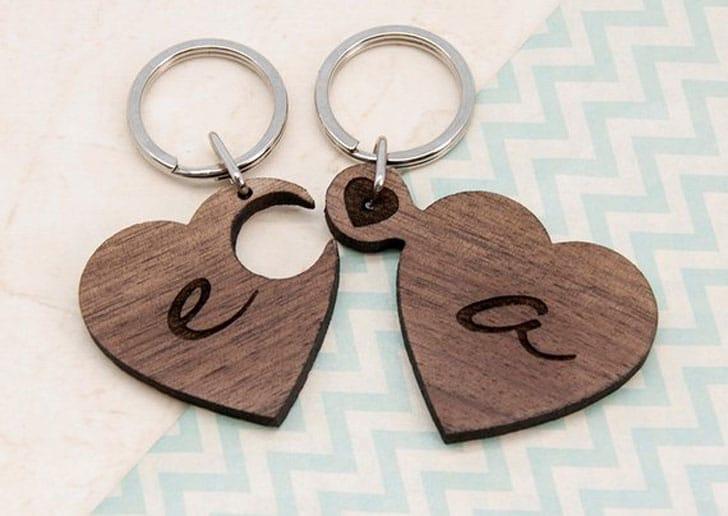 2 Heart Jigsaw Wooden Initials Romantic Keyrings