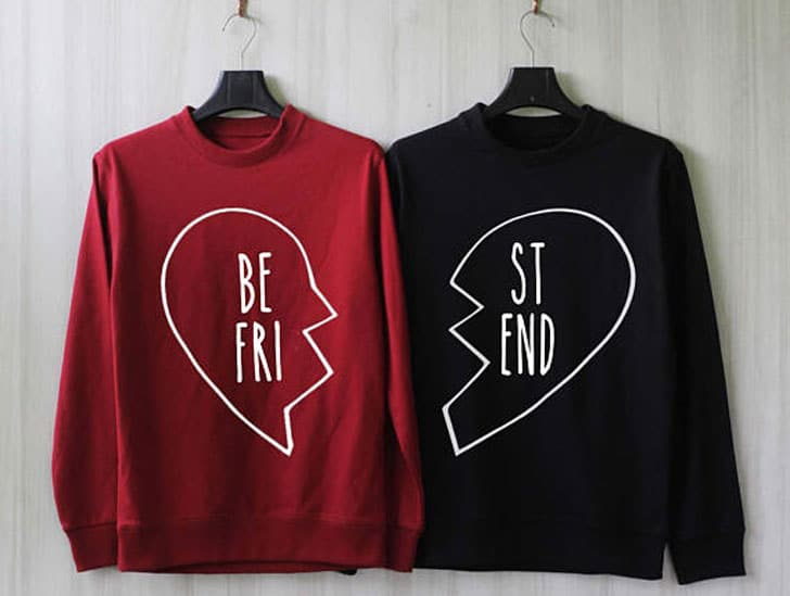 2-Piece Broken Heart Best Friend Couple Sweatshirts