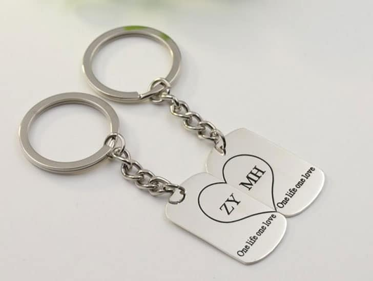 925 Silver Couple Keychain