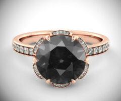 Art Deco Black Diamond Engagement Ring