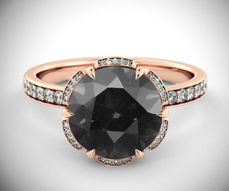 Art Deco Black Diamond Engagement Ring