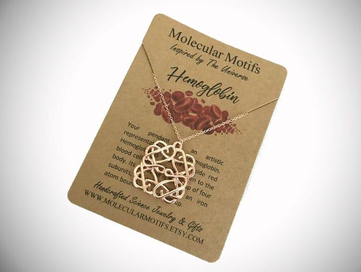 Blood Hemoglobin Molecule Necklace
