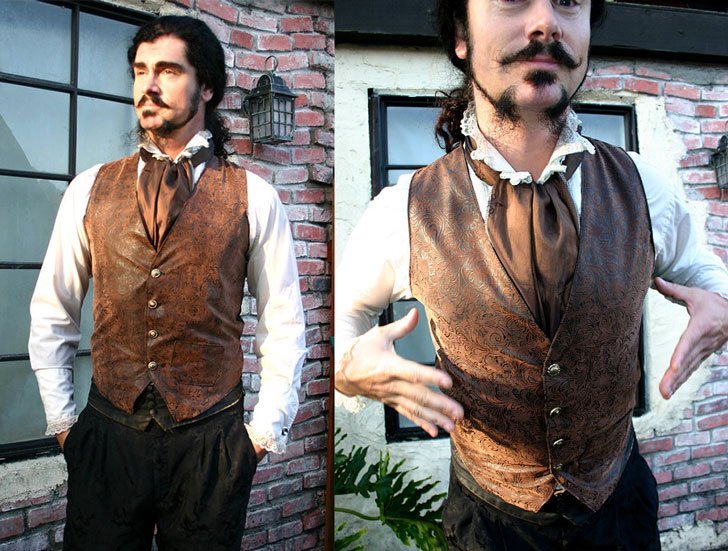 Brown and Black Tooled Faux Leather Gentlemen's Steampunk Vest