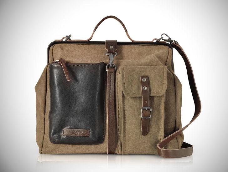 Carver-D Canvas Doctor Bag w/Leather Front Pocket