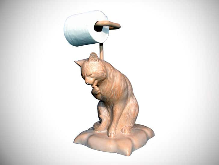 Cat Licking Paw Freestanding Toilet Paper Holder