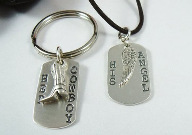 Cowboys and Angels Necklace and Keychain Set