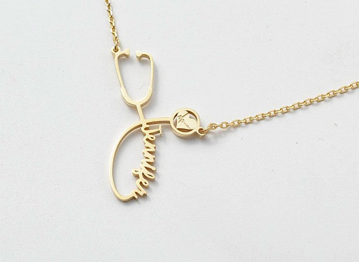 Custom Name 14k Gold Fill Stethoscope Necklace - gifts for doctors