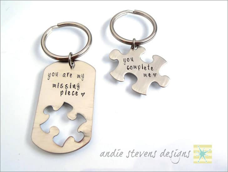 Dog Tag Puzzle Piece Key Rings for Couples