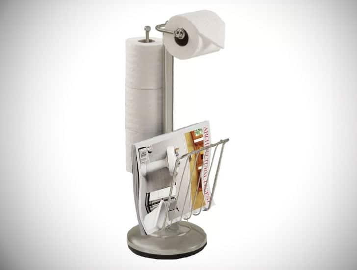 Free-Standing Magazine Rack Toilet Roll Holder