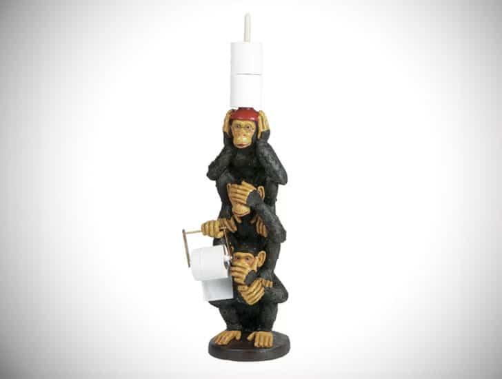 Funny Freestanding 3 Monkeys Toilet Paper Holder
