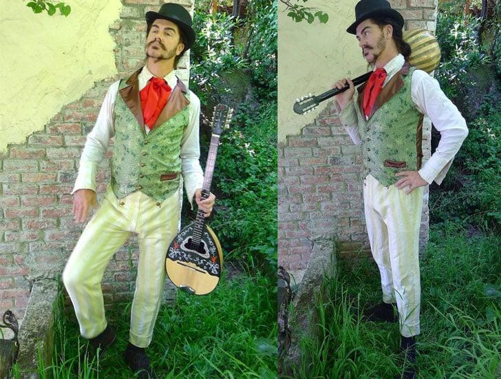 Green Crysthanamum Silk Brocade Steampunk Gentlemen's Vest
