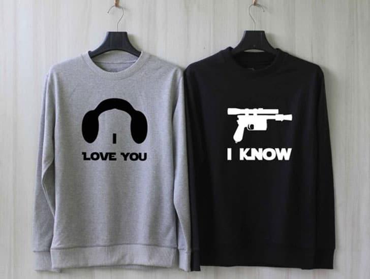 Han and Leia - I Love You I Know couples Sweatshirts