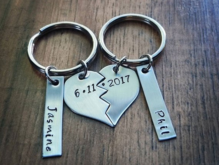 Hand Stamped Personalized Couple Keychains