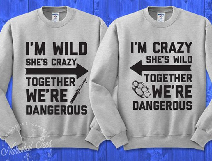I'm Wild She's Crazy Couples Sweaters