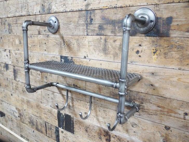 Industrial Steel Pipe & Metal Mesh Floating Shelf Toilet Holder