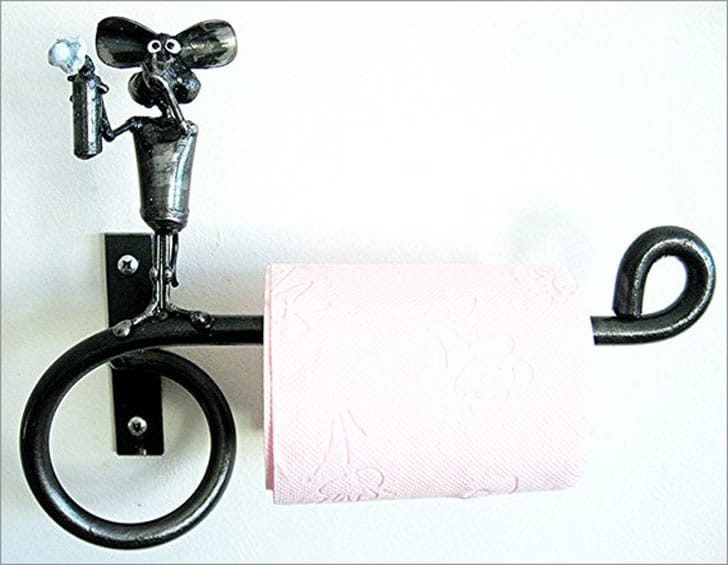 Industrial Toilet Paper Holder with Shelf, Mouse and Deodorant Spray