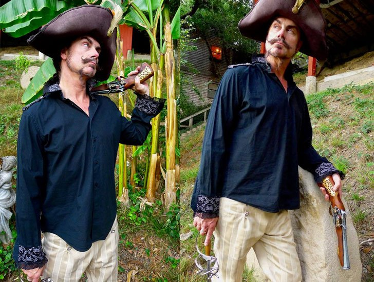 Men's Black Steampunk Pirate shirt