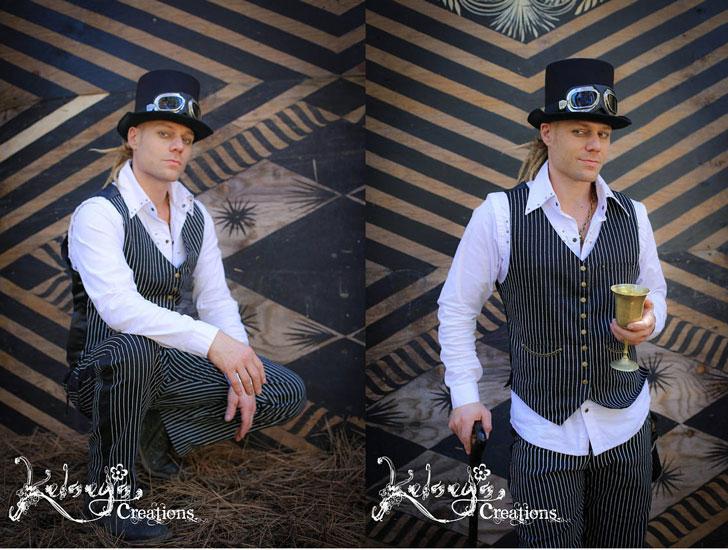 Men's Black & White Striped Steampunk 2-Piece Victorian Suit