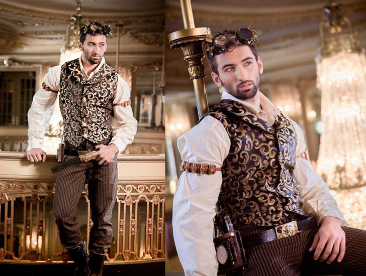 Men's Black and Gold Steampunk Costume