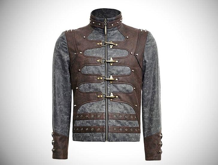 Mens Steampunk Zipped Punk Jacket