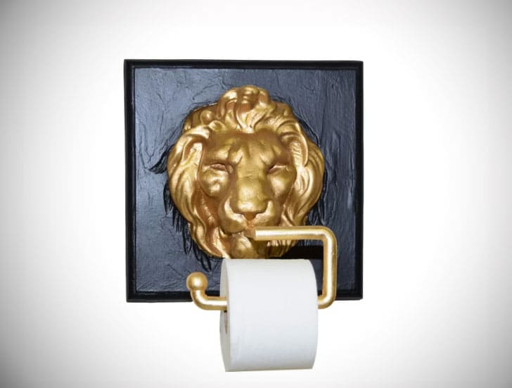 Old World Lion Face Wall Mount Toilet Paper Holder