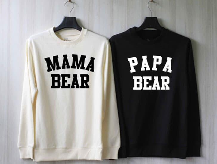 Papa Bear Mama Bear Couple Sweaters