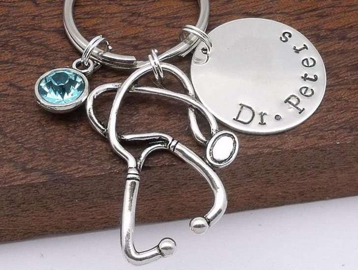 Personalised Hand Stamped Keyring Gift for Doctor