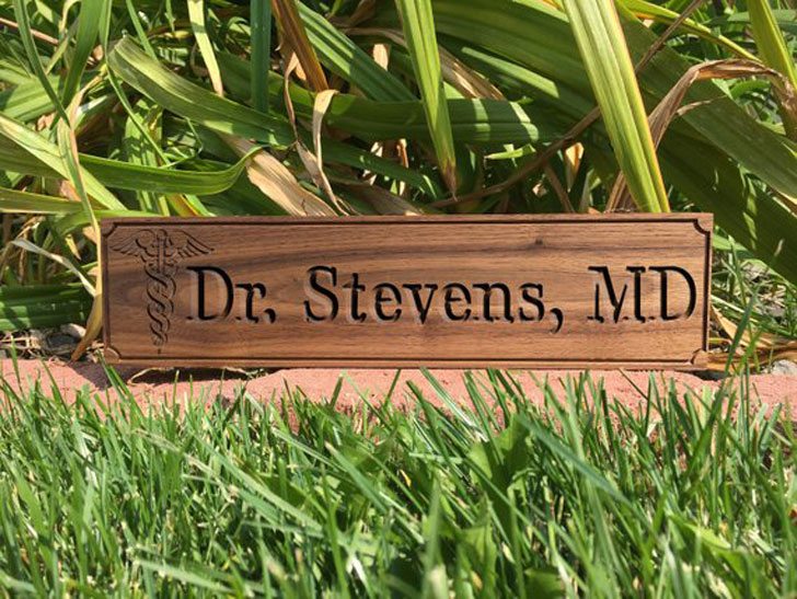 Personalised Wooden Caduceus Doctor Desk Sign - gifts for doctors