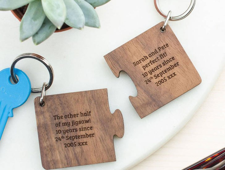 Personalised Wooden Two Piece Jigsaw Keyring Set