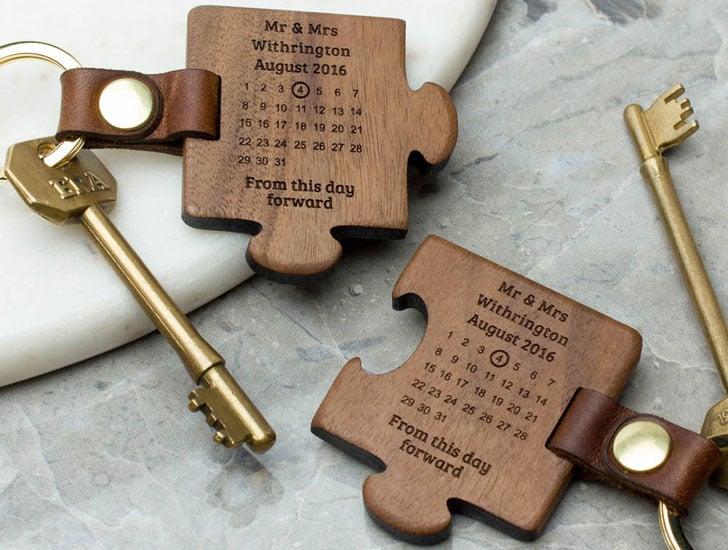 Personalised Wooden Wedding Keyring Set