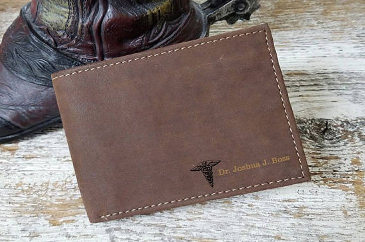 Personalized Leather Doctor Wallet