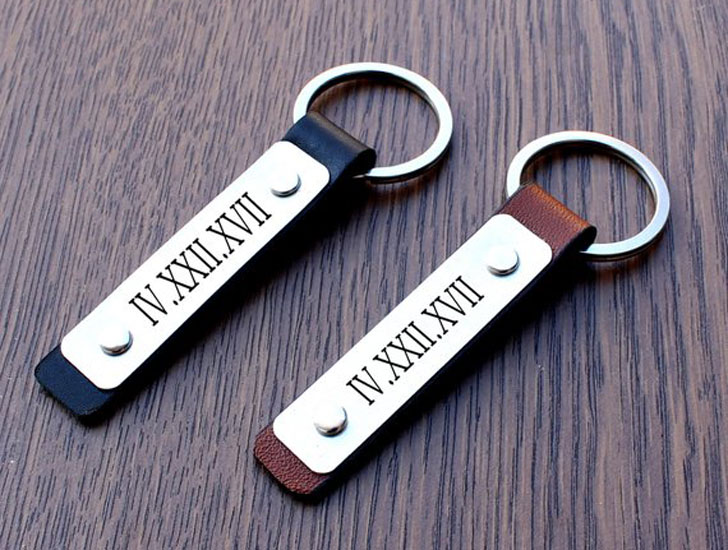 Personalized Leather & Roman Numerals Couple Keychain