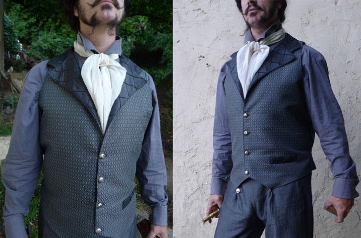 Pewter Grey and Black Diamond Steampunk Gentlemen's Vest