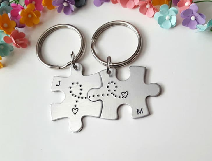 Puzzle Piece Couple Keychains