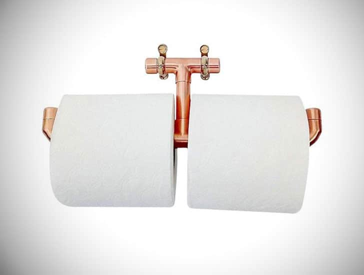 QuirkHub Twin Copper Toilet Roll Holder
