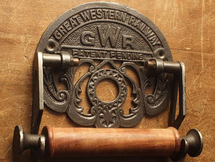 Railway Cast Iron Toilet Roll Holder